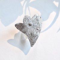Broche - zilver met kristal -