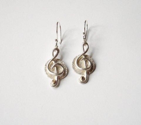 Duetto - Vioolsleutel oorhangers - Broches