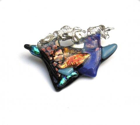 Glazzz - Zilveren broche met kleurrijk glas - Broches