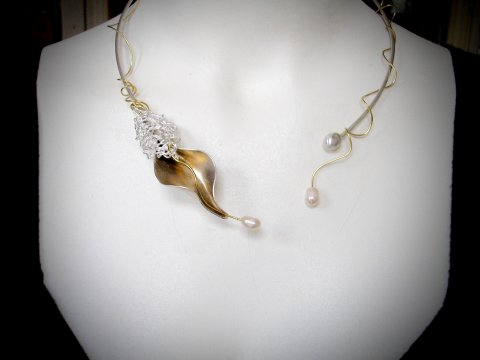 Ucella - zilveren collier met filigrain en parels - Collier