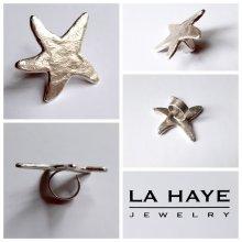 La Haye Jewelry - Den Haag - Grote zilveren ring met Zeester mortief