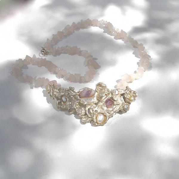 Agua - Zilveren hanger met rozenkwarts -