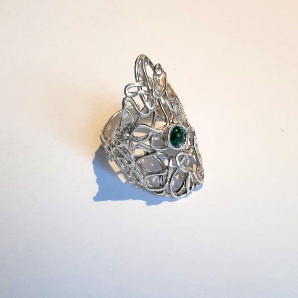 Malachite - Zilveren ring met malachiet -
