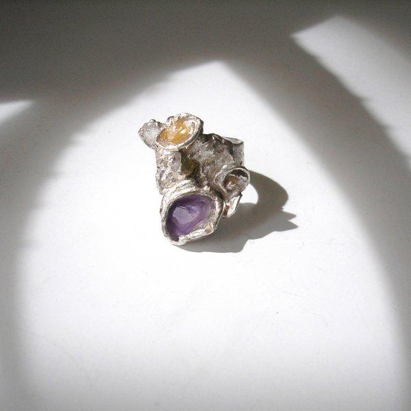 Mystère - Zilveren ring met Amethist -