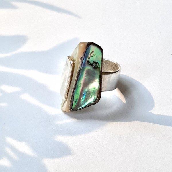 Paua - Zilveren ring met parelmoer -