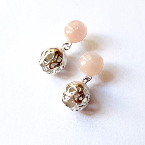 Sfera - Zilveren oorbel met rozenkwarts -
