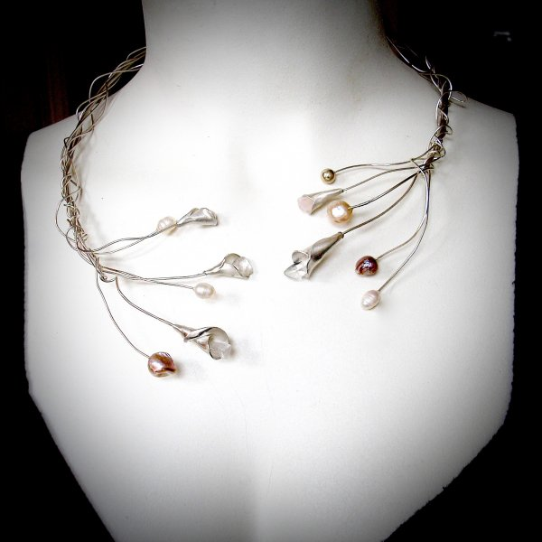 Sparkle Collier Zilver met Parels en Bergkristal -