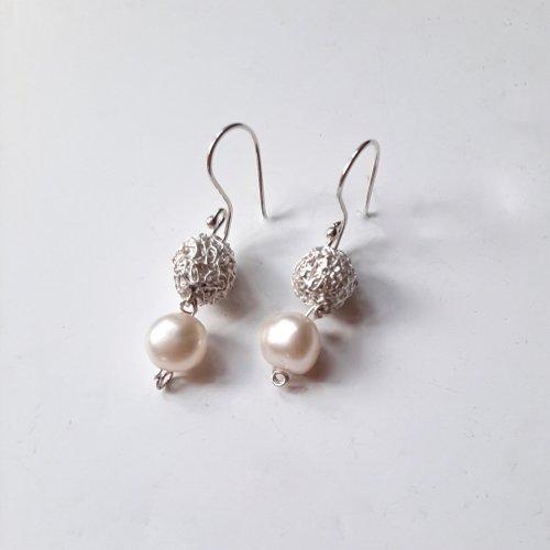 Baleares Perla - Zilveren oorbellen met parel -