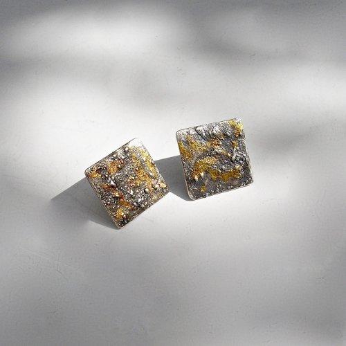 Belleza - Zilveren oorstekers met goud -