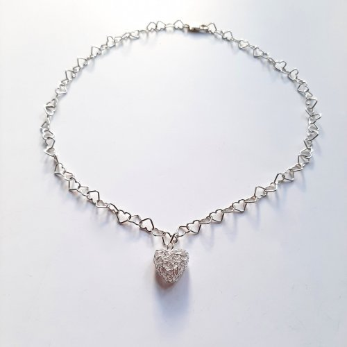Connected Hearts - Zilveren hartjes-collier -