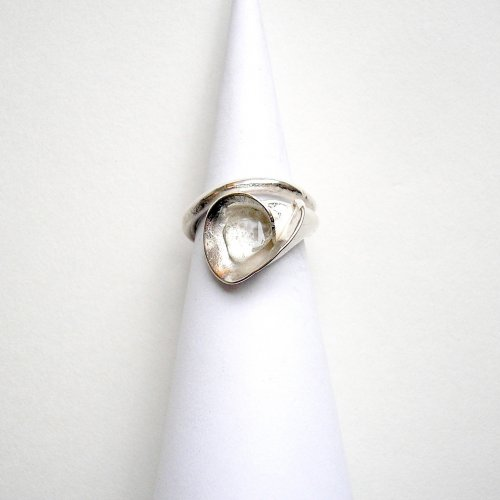 Fiore Due - Zilveren ring met bergkristal -