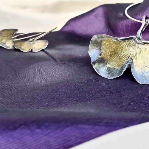 Ginko Biloba - Zilveren hanger met goud -