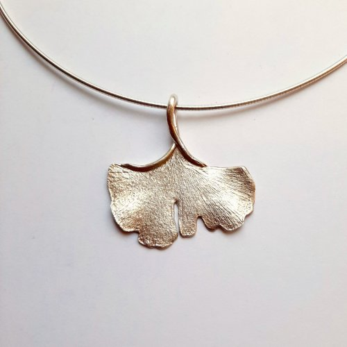 Ginko Silver - Zilveren collier -