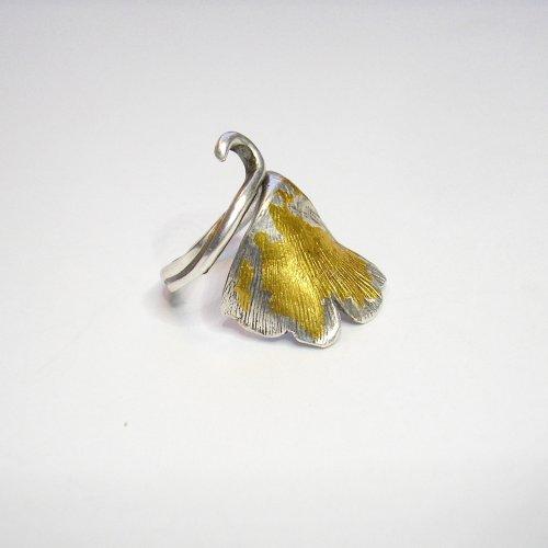 Ginko - Zilveren ring met goud -