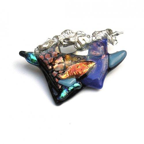 Glazzz - Zilveren broche met glas -