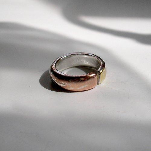 Hilde - Mokume Gane Ring met gouden element -
