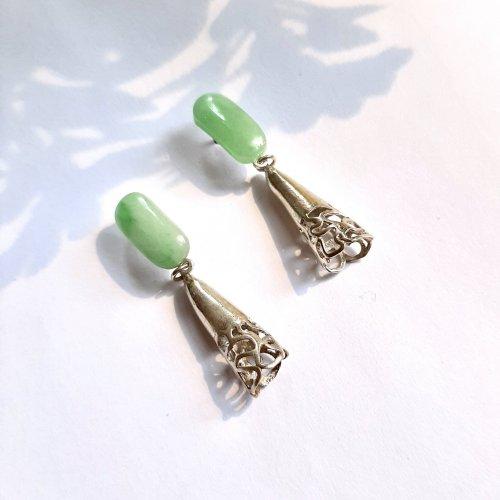 Jade - Zilveren oorbellen -