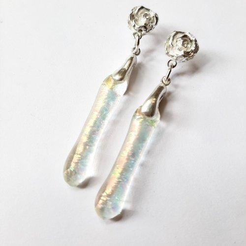 Jewel - Zilveren oorbel roos met glas -