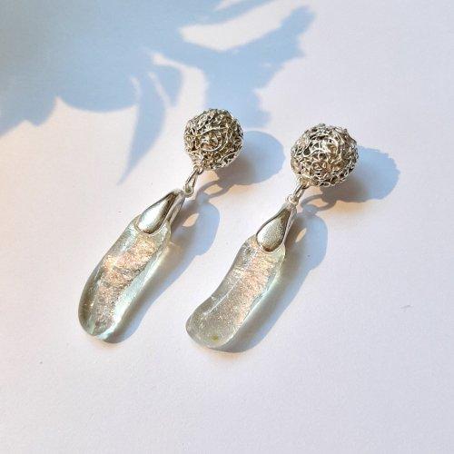 Jewels - zilveren oorbel filigrain & glas -