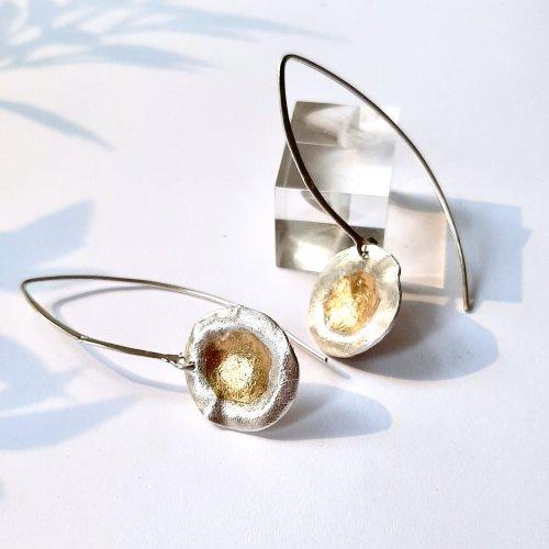 Morning - Zilveren oorhangers met goud -