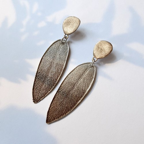 Nature - Oorbellen zilver en brons -