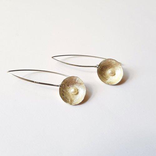 Pérolas - Zilveren oorhangertjes met pareltje -