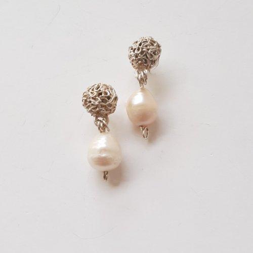 Perla Classica - Zilveren oorbellen met pareltje -