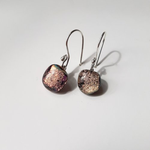 Pink Paradise - Zilveren oorhangers met dichroic glas -