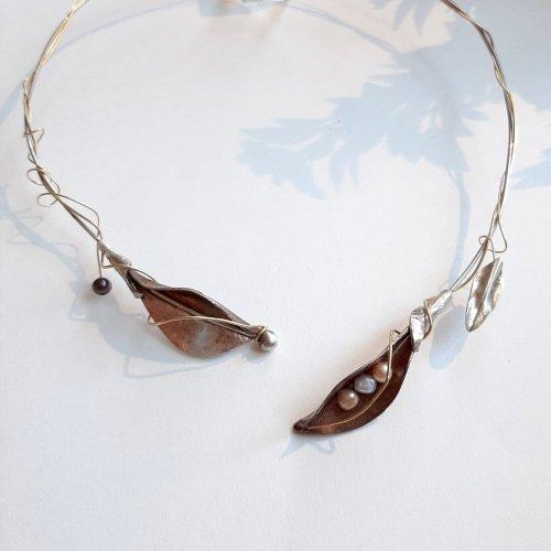 Ramoscello II - Zilver collier met koper blad -